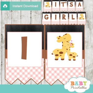printable pink giraffe personalized baby shower girl banner