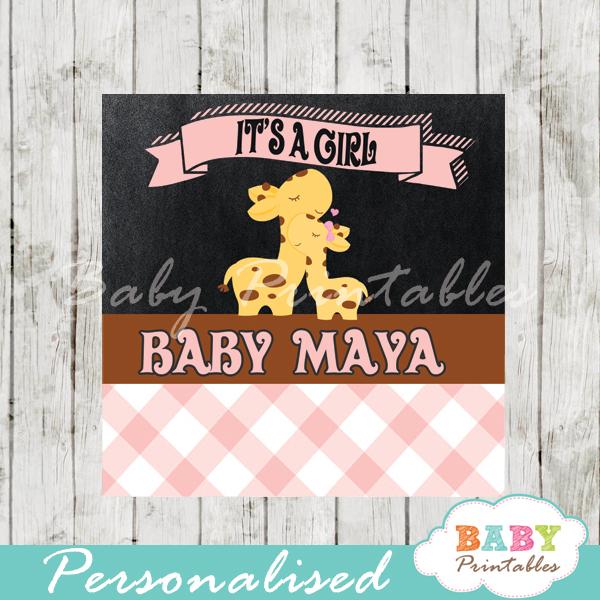baby girl pink jungle giraffe printable chalkboard baby shower gift labels for favors