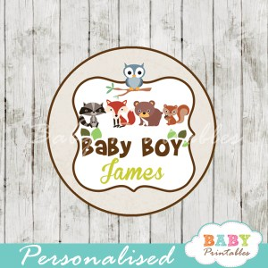 personalized woodland animals baby shower tags