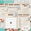 printable woodland themed baby shower games package