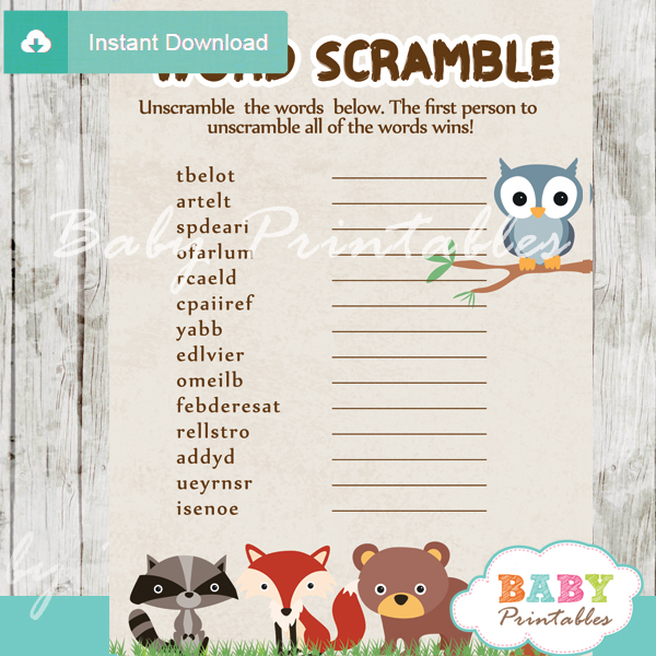Woodland Baby Shower Games D137 Baby Printables