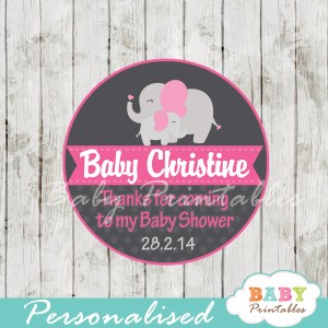 personalized pink elephant baby shower tags