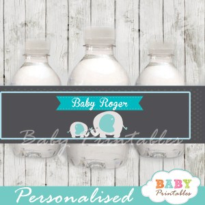 personalized blue elephant boy baby shower bottle wrappers