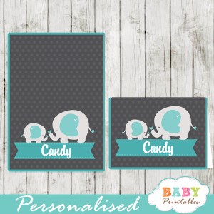 printable food labels for boy baby shower blue elephant