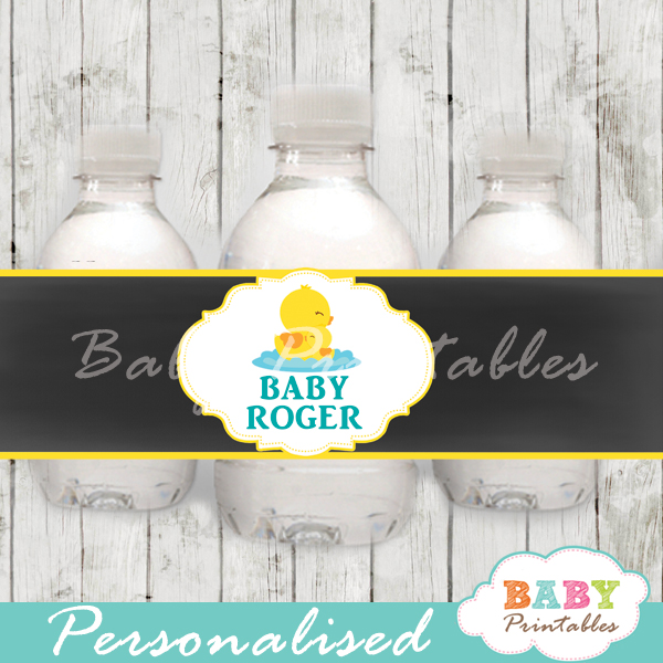 baby shower yellow rubber duck personalized printable Water Bottle Labels