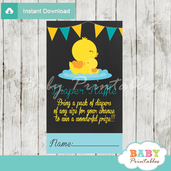 yellow rubber duck printable diaper raffle tickets cards