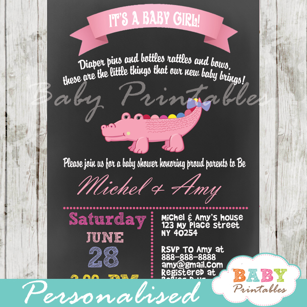 personalized chalkboard pink crocodile girl baby shower invitation printable