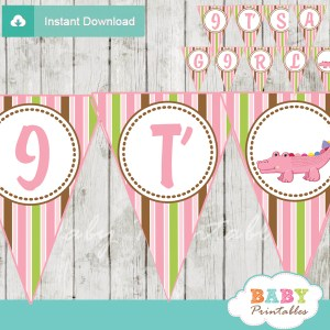 it's a girl printable crocodile themed baby shower banner