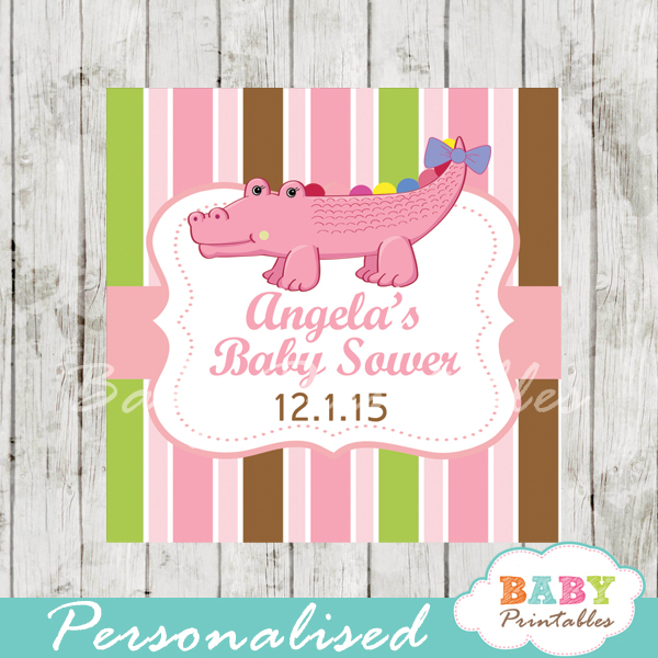 printable custom crocodile baby shower gift labels