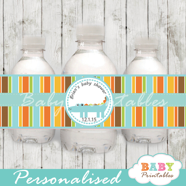 personalized blue crocodile baby shower bottle wrappers