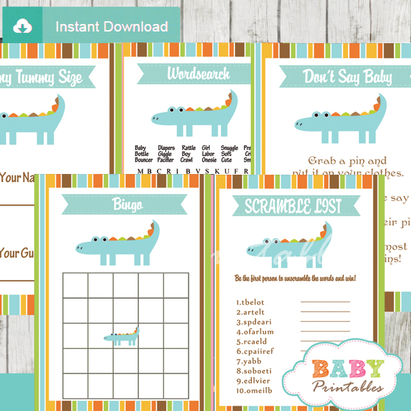printable crocodile themed baby shower games package