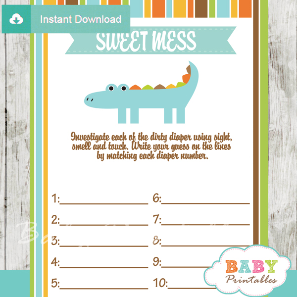 crocodile themed Baby Shower Game What's That Sweet Mess Dirty Diaper Shower Game