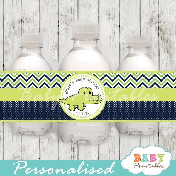 personalized green crocodile baby shower bottle wrappers