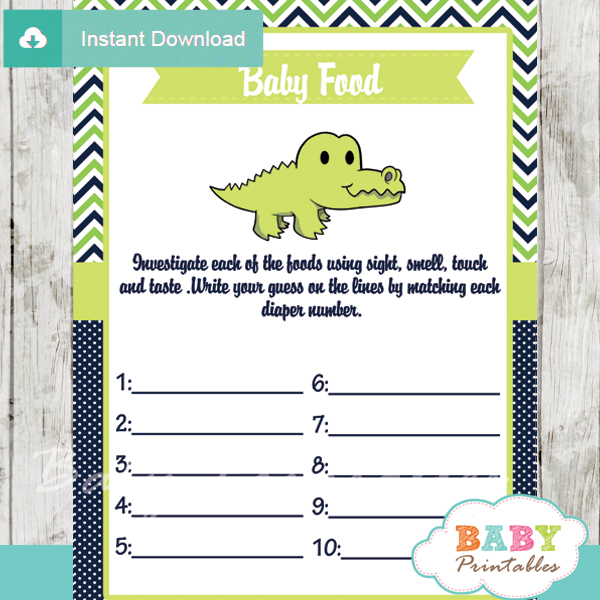 crocodile printable baby shower games blind tasting baby food