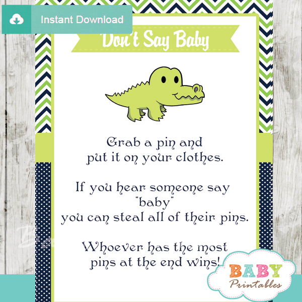 printable crocodile theme Dont Say Baby Game pdf