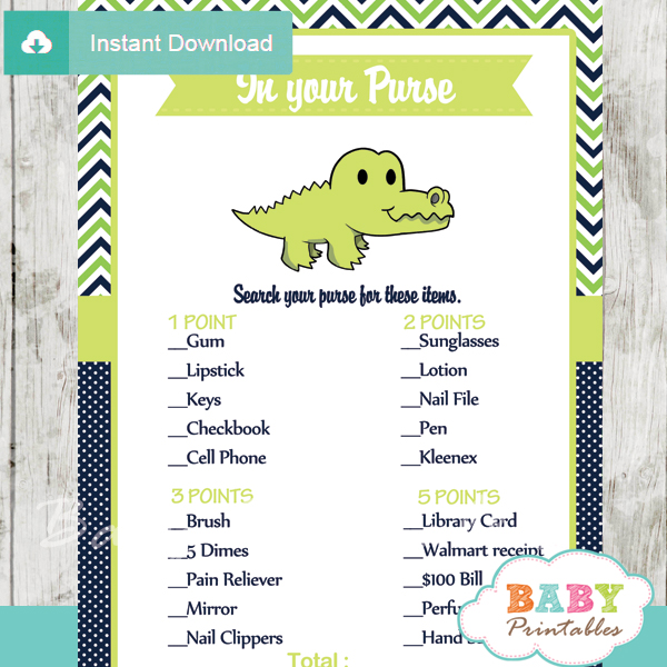 preppy crocodile themed printable baby shower games what's in your purse