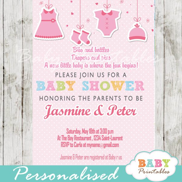 Pink Clothesline Baby Shower Invitation D150