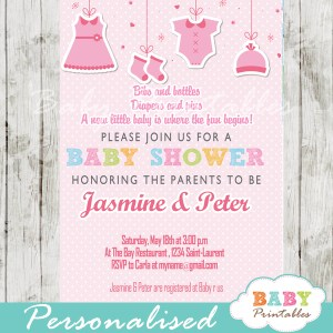 baby girl pink clothes baby shower invitation printable