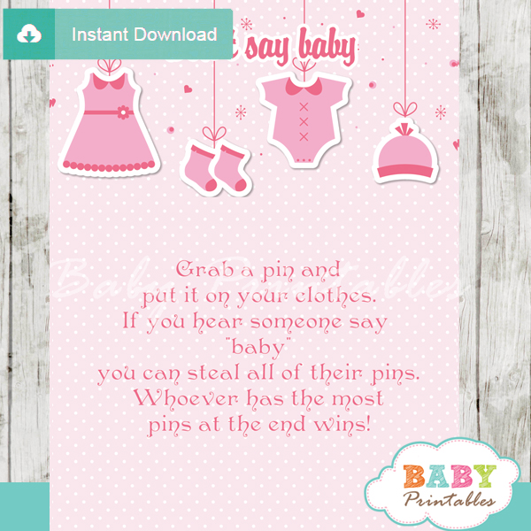 printable pink baby girl clothes theme Dont Say Baby Game pdf