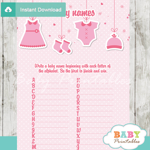 printable pink baby girl clothes Name Race Baby Shower Game