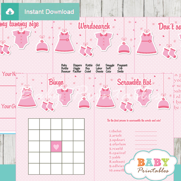 printable pink clothes themed baby shower games package