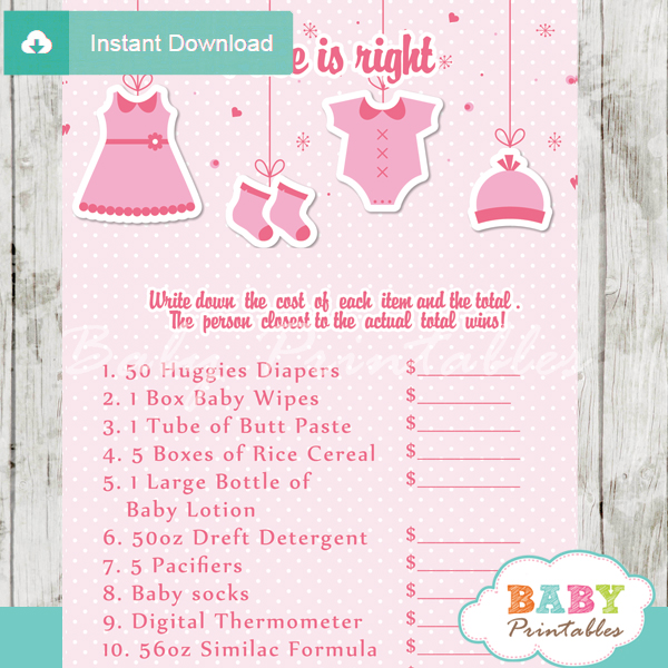 Baby Girl Clothes Price Is Right Baby Shower Game Printable Pdf