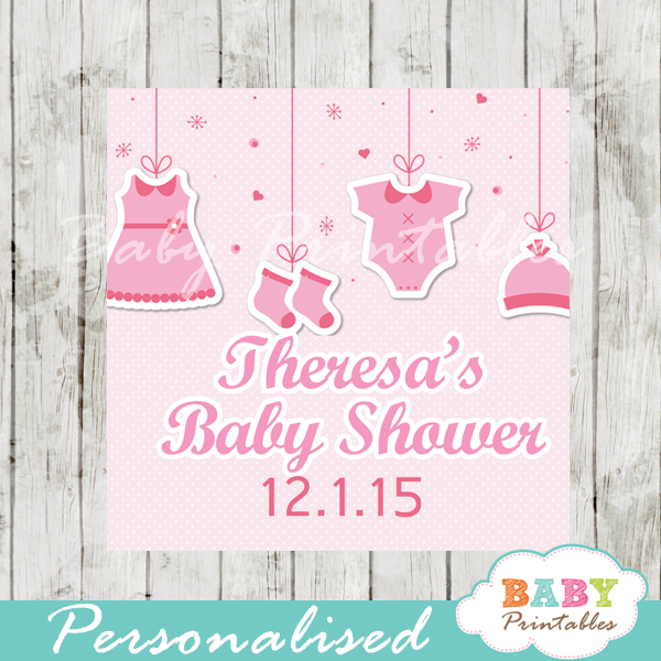 printable baby girl pink clothes baby shower gift labels