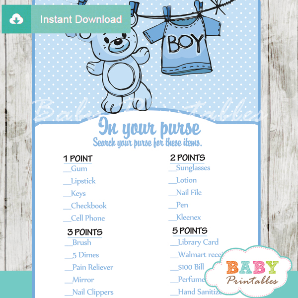 blue baby boy clothes themed printable baby shower games what's in your purse