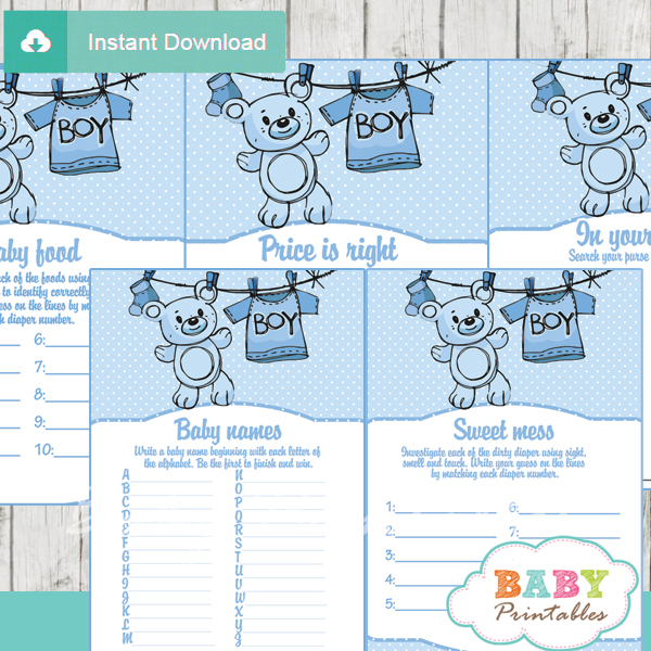printable blue clothes baby shower fun games ideas