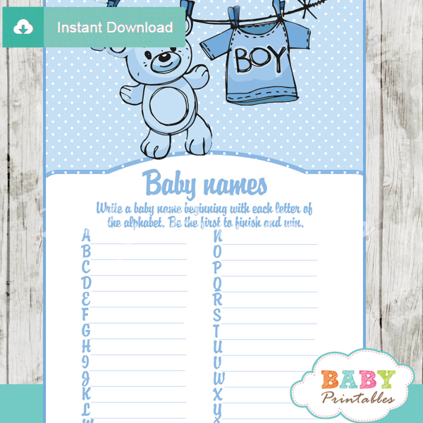printable blue baby boy clothes Name Race Baby Shower Game cards