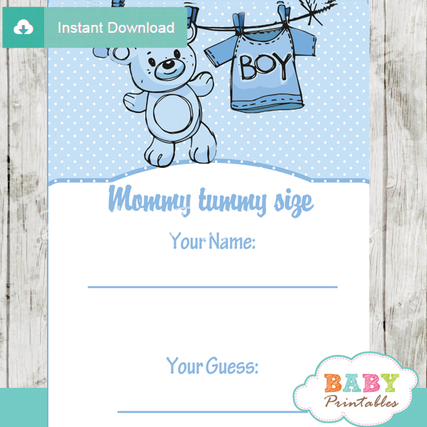 baby boy blue clothes printable Baby Shower Game Guess the Mommy's Tummy Size