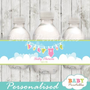 personalized baby girl clothesline baby shower bottle wrappers diy online