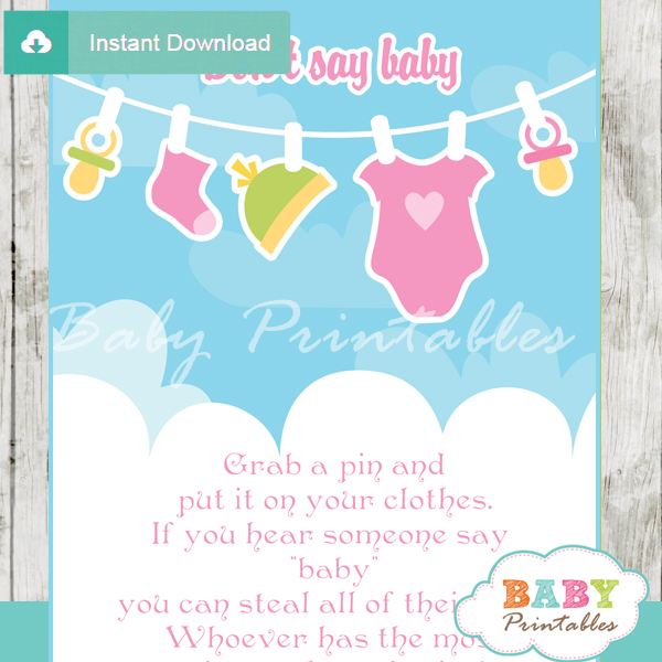 printable baby girl clothes theme Dont Say Baby Game pdf
