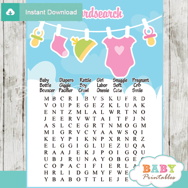 baby girl pink green clothes themed printable baby shower word search puzzles