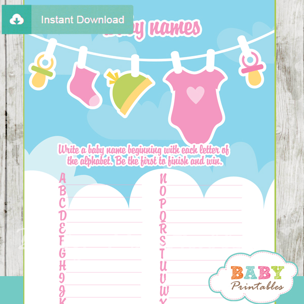 printable pink green baby girl clothes Name Race Baby Shower Game cards
