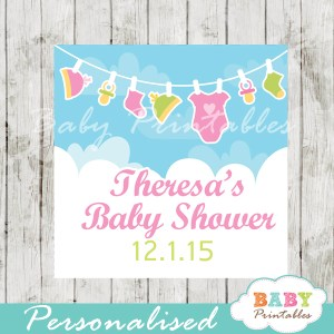 printable baby girl pink green clothes baby shower gift labels
