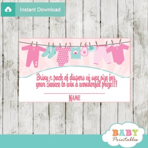 printable pink tiffany baby girl clothes diaper raffle tickets baby shower