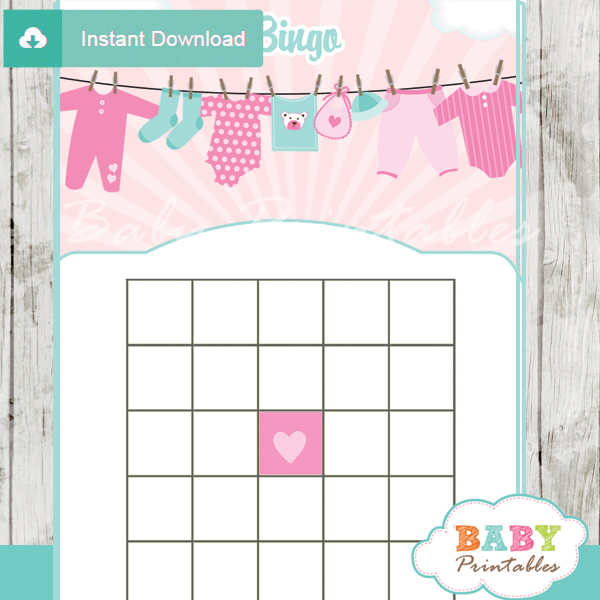 printable baby girl clothes themed baby shower bingo games cards