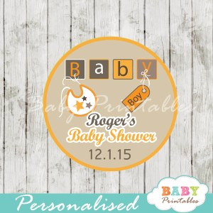 baby boy letter blocks baby shower tags labels