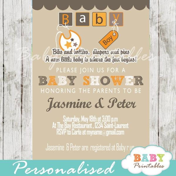 Orange Brown Baby Blocks Shower Invitation D154