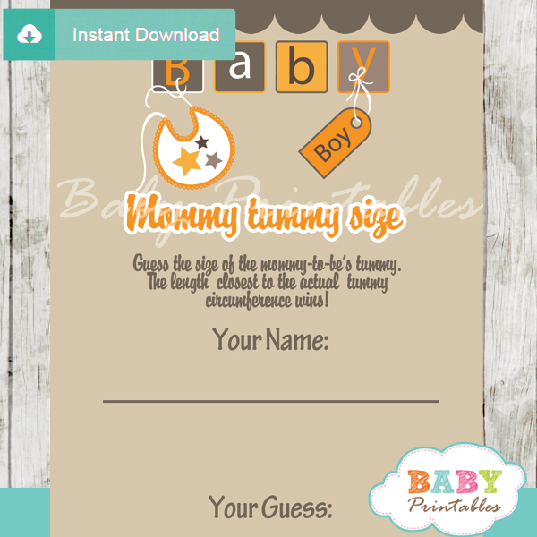 baby letter blocks printable Baby Shower Game Guess the Mommy's Tummy Size