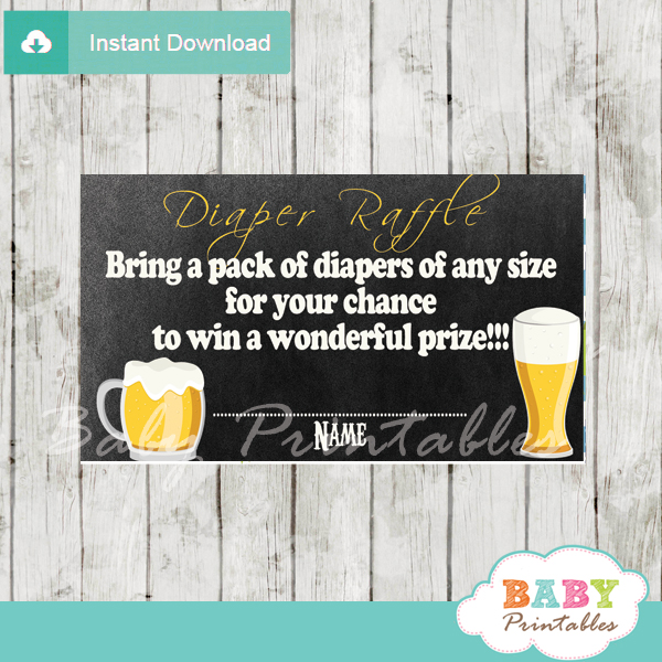 printable baby is brewing beer babyq diaper raffle game cards baby shower