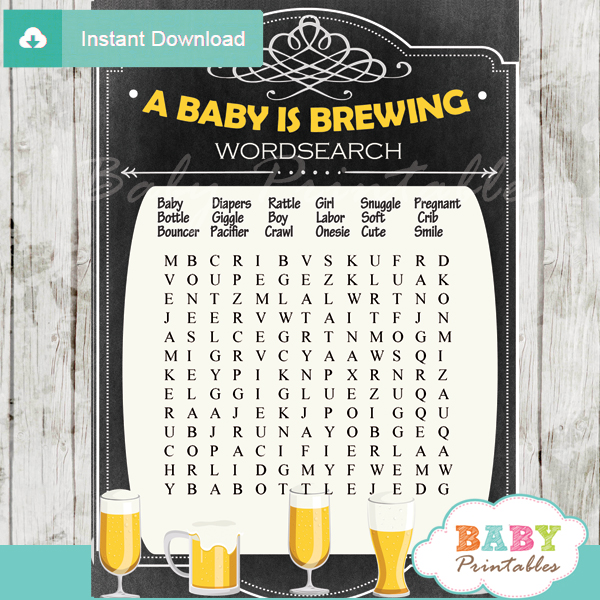 baby is brewing babyq themed printable baby shower word search puzzles