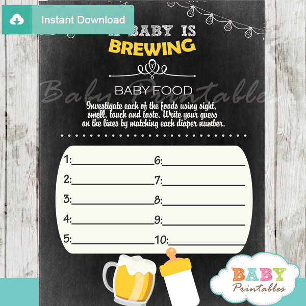 beer bbq printable baby shower games blind tasting baby food