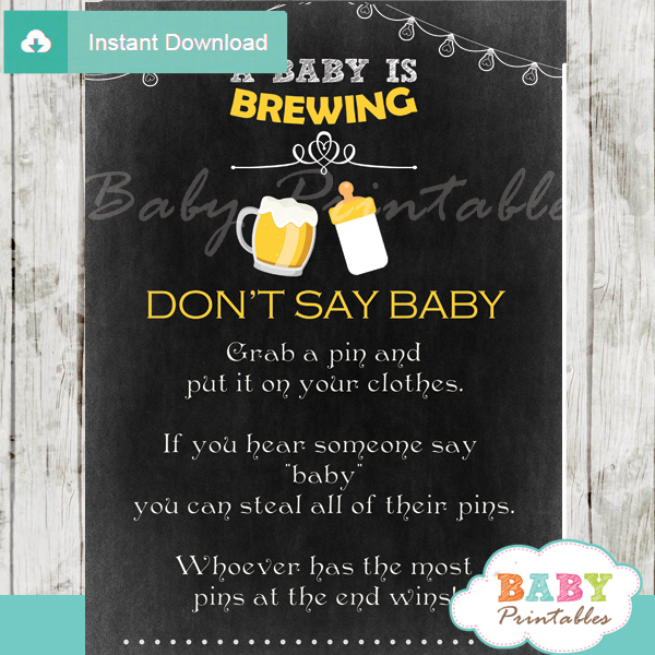 printable beer bbq theme Dont Say Baby Game pdf