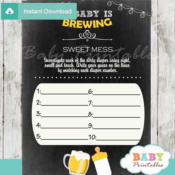 beer bbq themed Baby Shower Game What's That Sweet Mess Dirty Diaper Shower Game