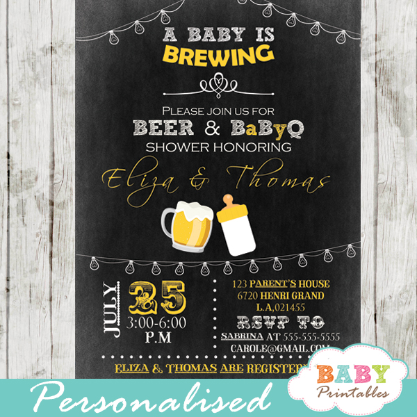 diy a baby is brewing beer couples baby shower invitation printable