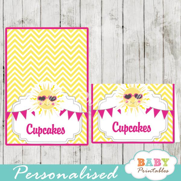printable pink yellow custom sunshine food label cards