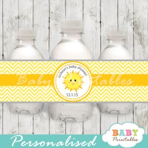 custom yellow chevron sunshine baby shower bottle wrappers diy online