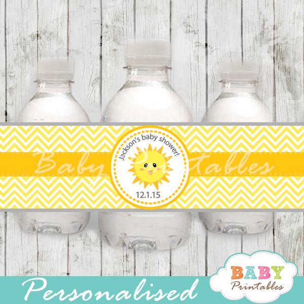 custom yellow chevron sunshine baby shower bottle wrappers diy online